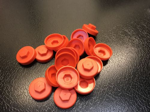 1000no. Poppy Red 16mm Colour Cap (Push On Colour Cap)